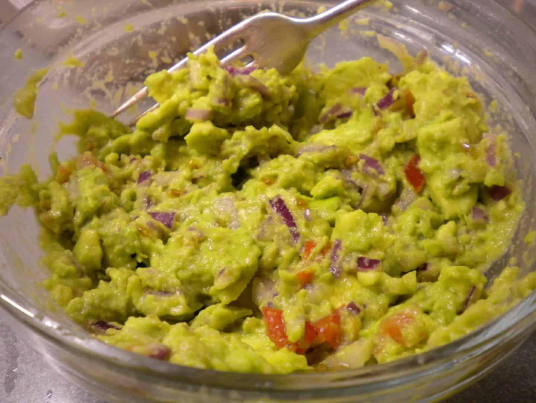 Homemade gluten free chunky guacamole