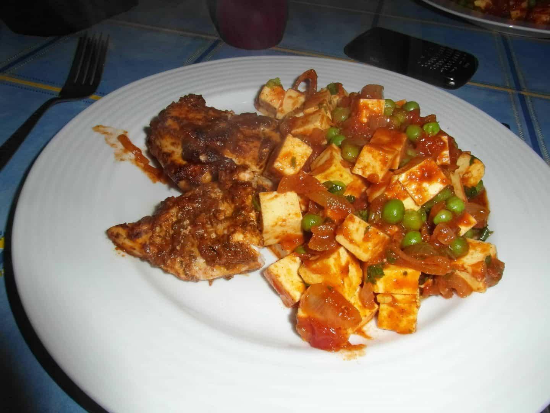 Recipe: Gluten free spicy coriander chicken with Paneer curry