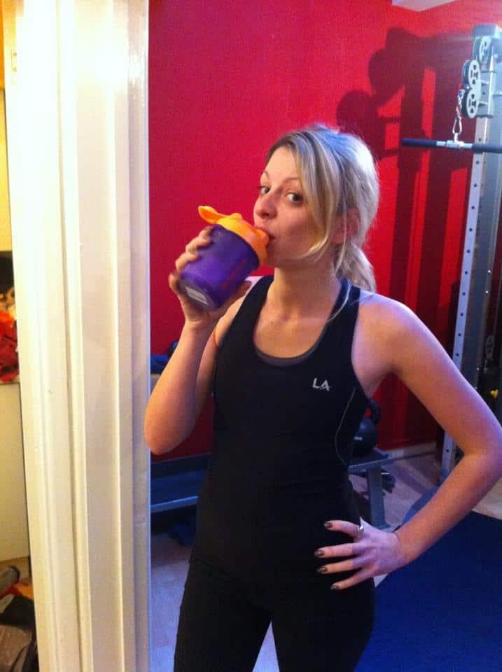 Enjoying a post-workout shake: pic by Steve Sanger PT!