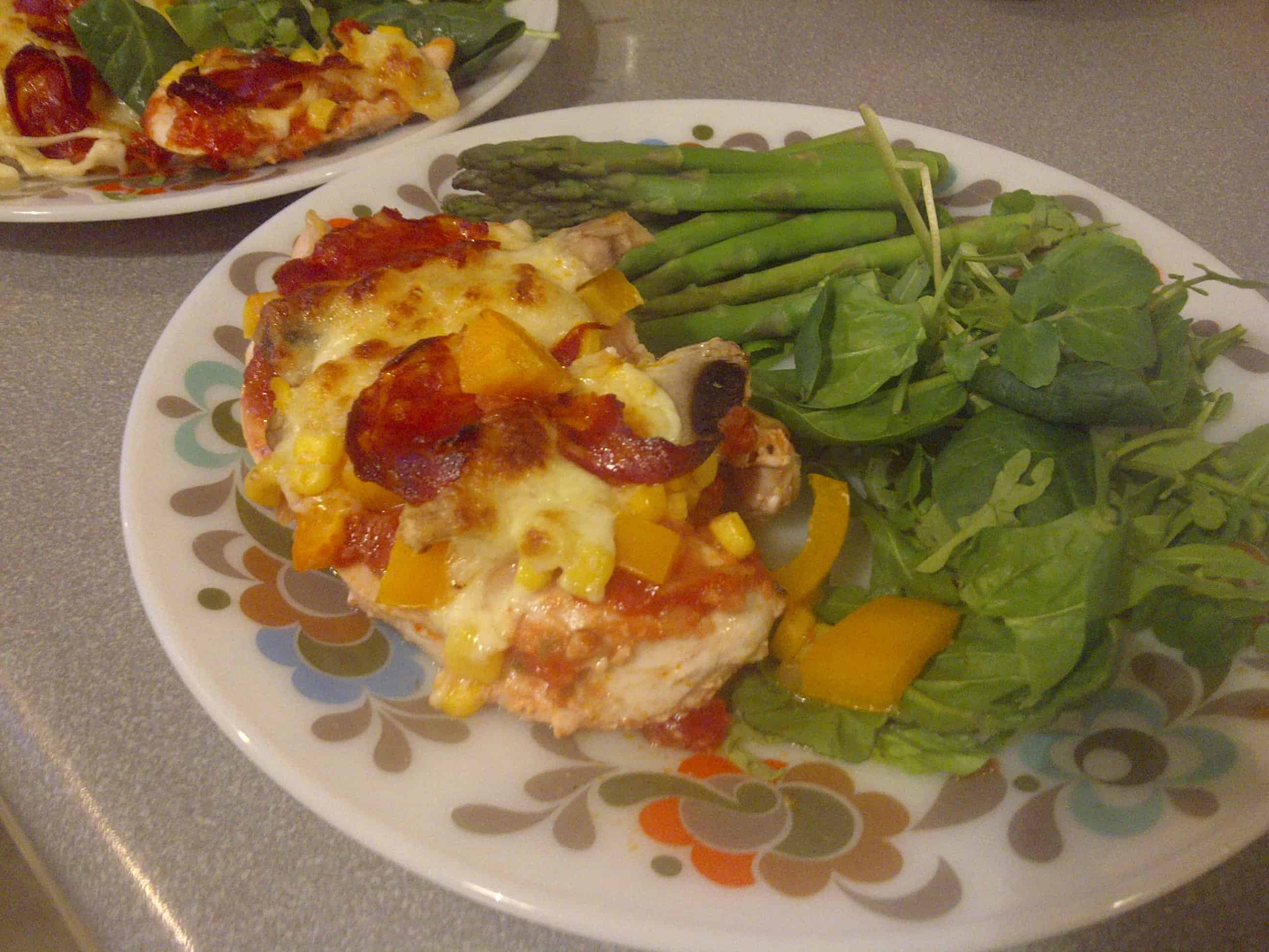 Serve with salad and greens - yum!