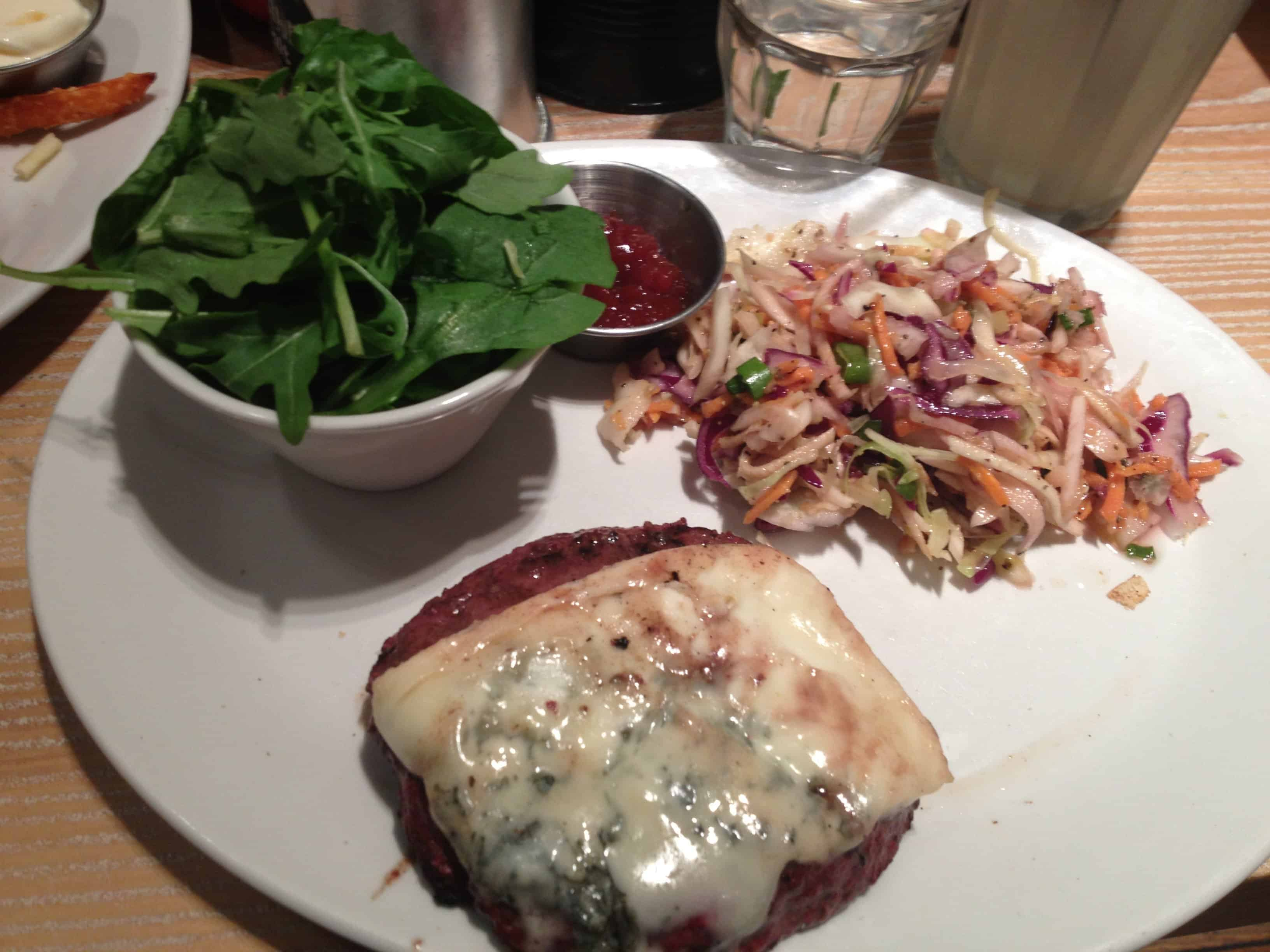 My 'naked' blue cheese burger.