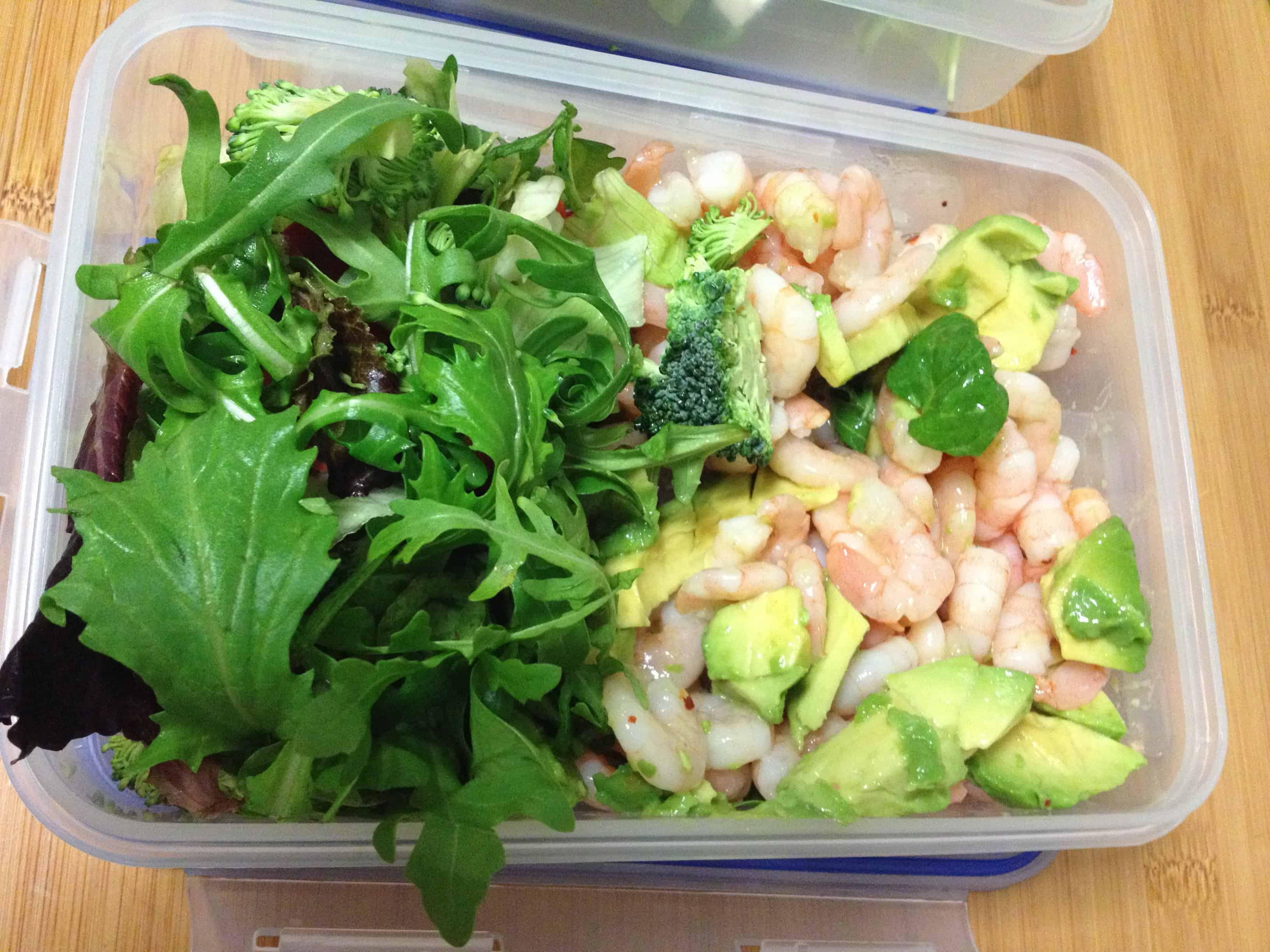 Prawns, avocado and salad