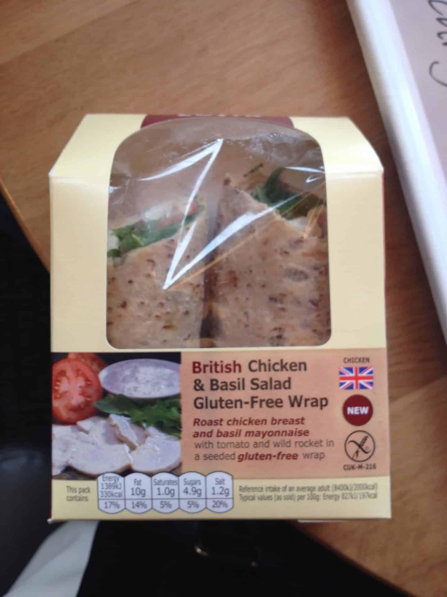 Gluten free chicken wrap from Costa Coffee