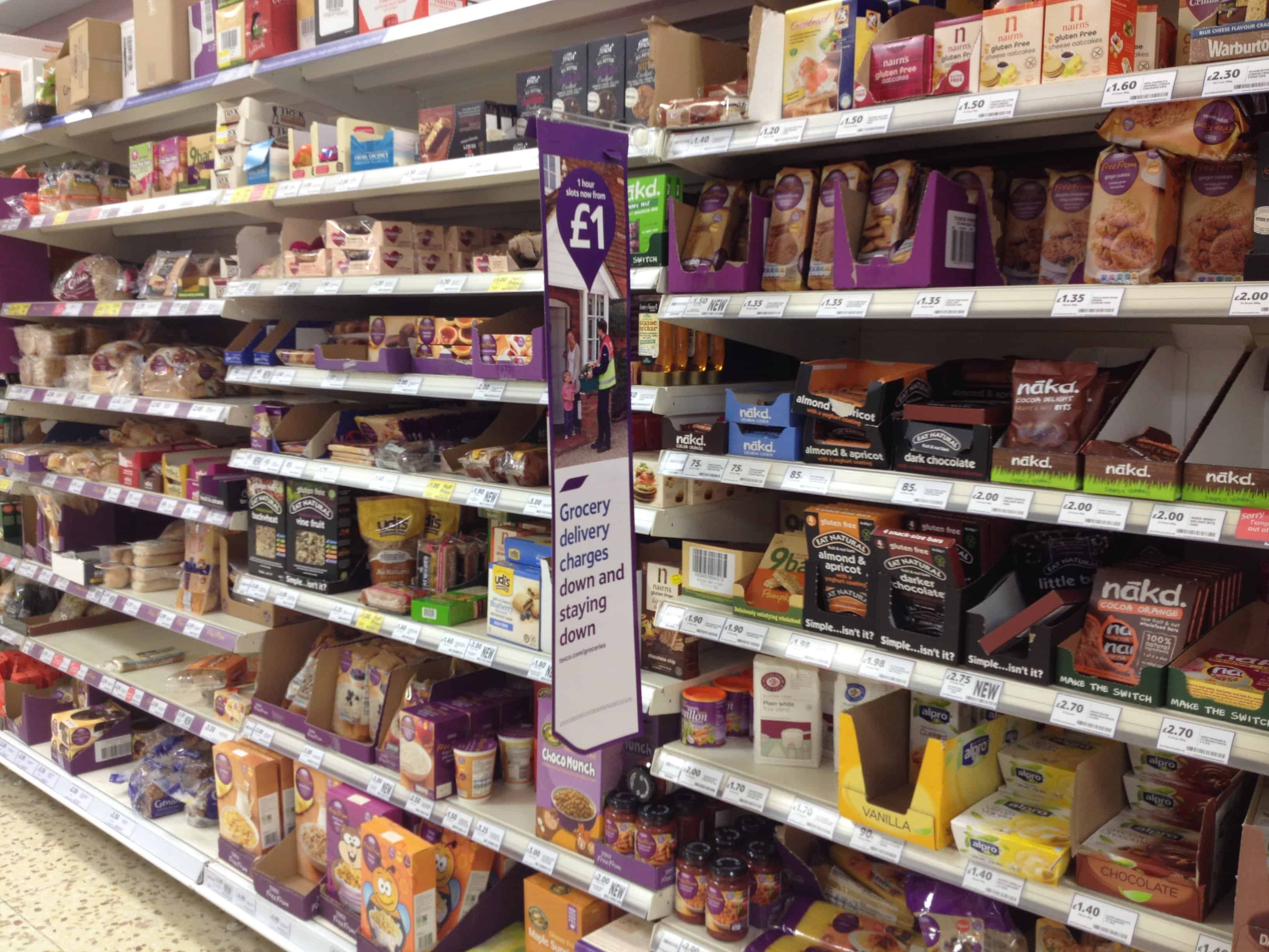 The Free From aisle in my local Tesco store in Barnstaple, North Devon.