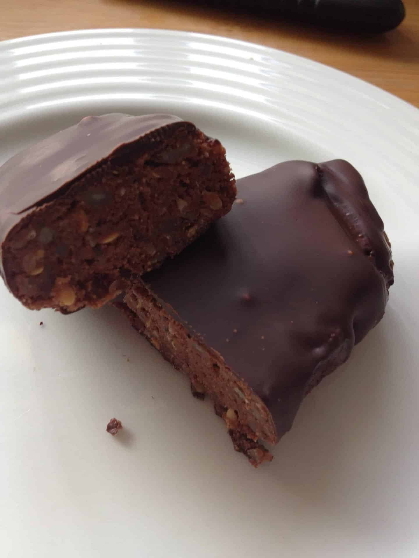 Gluten free, low carb, amazing chocolate covered protein bars!