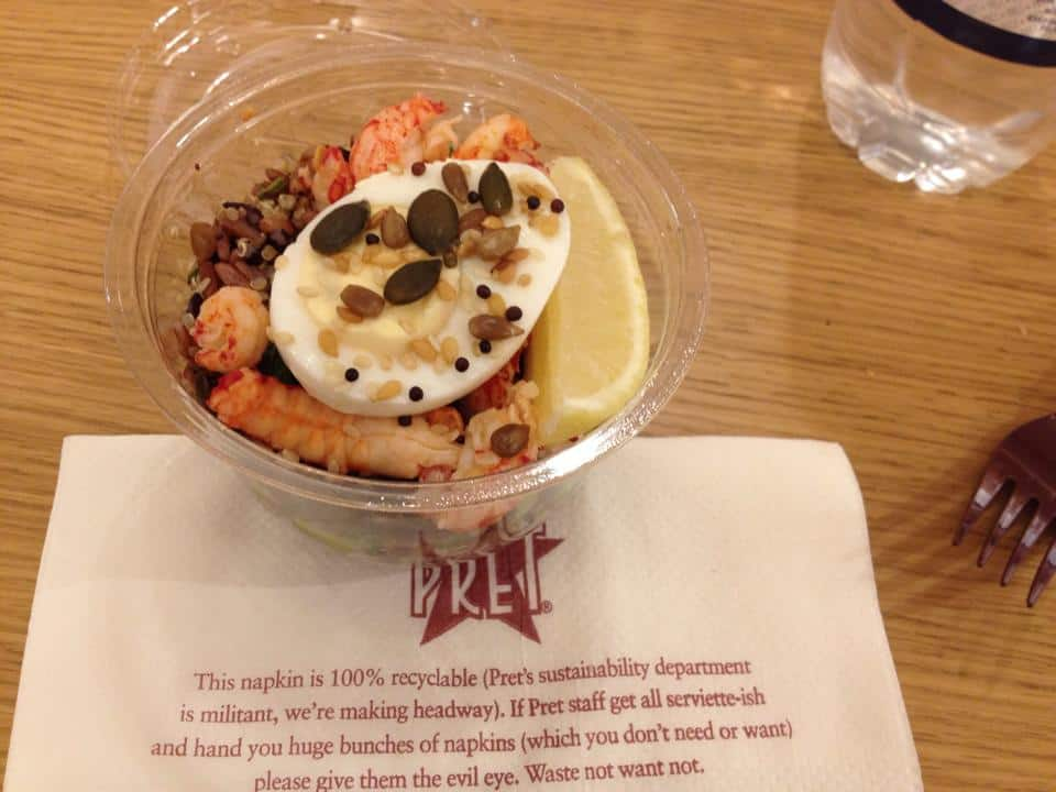 Crayfish and egg protein pot at Pret.