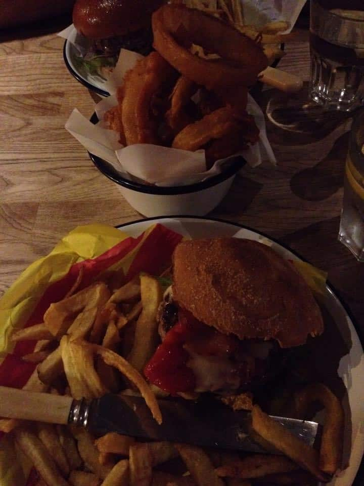WOW! Gluten free burger, fries and onion rings at Honest Burgers.