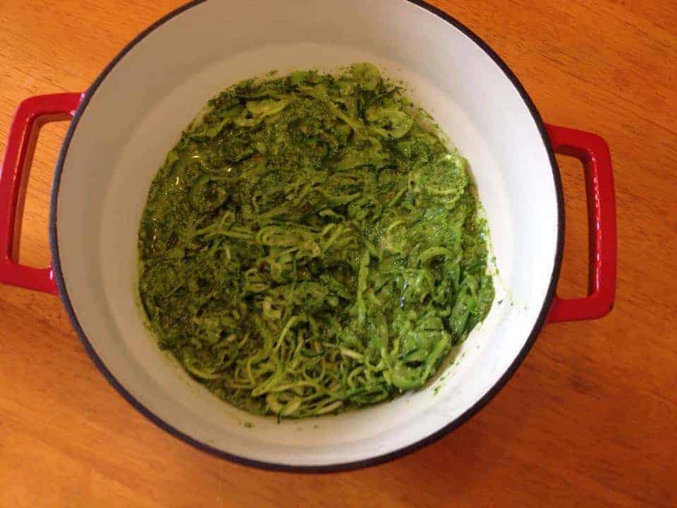 Gluten free green 'courgetti' spiralized spaghetti with spinach pesto