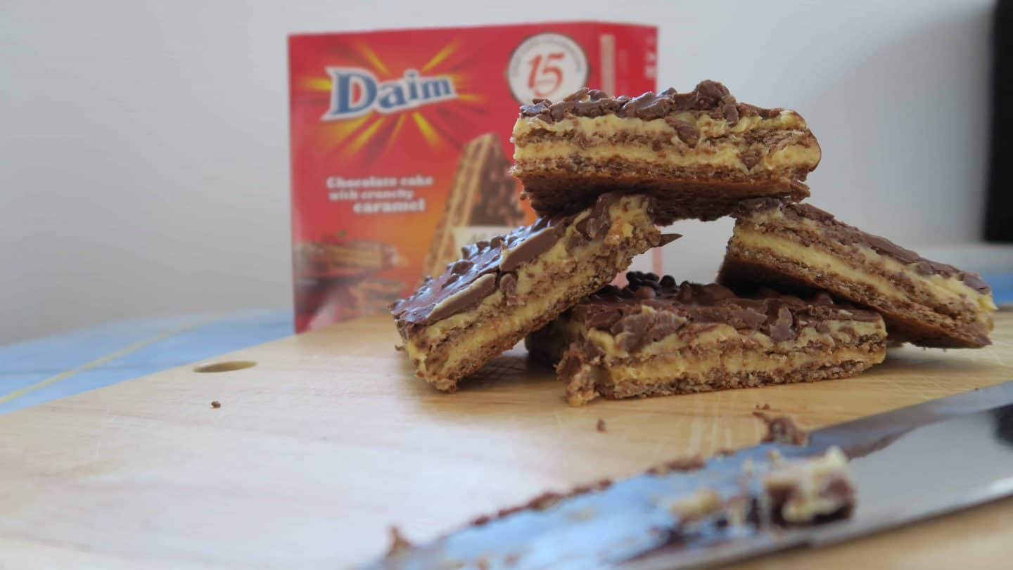 Gluten free Daim bar chocolate cakes from Almondy