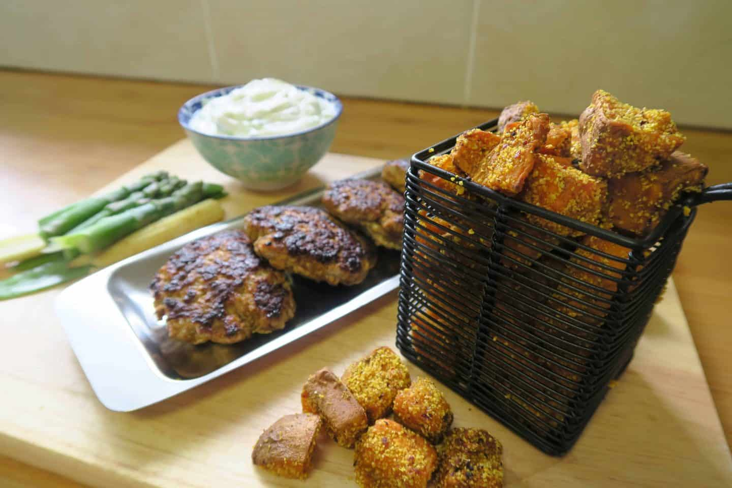 Recipe: Crunchy spiced sweet potato chunks with garlic yoghurt dip