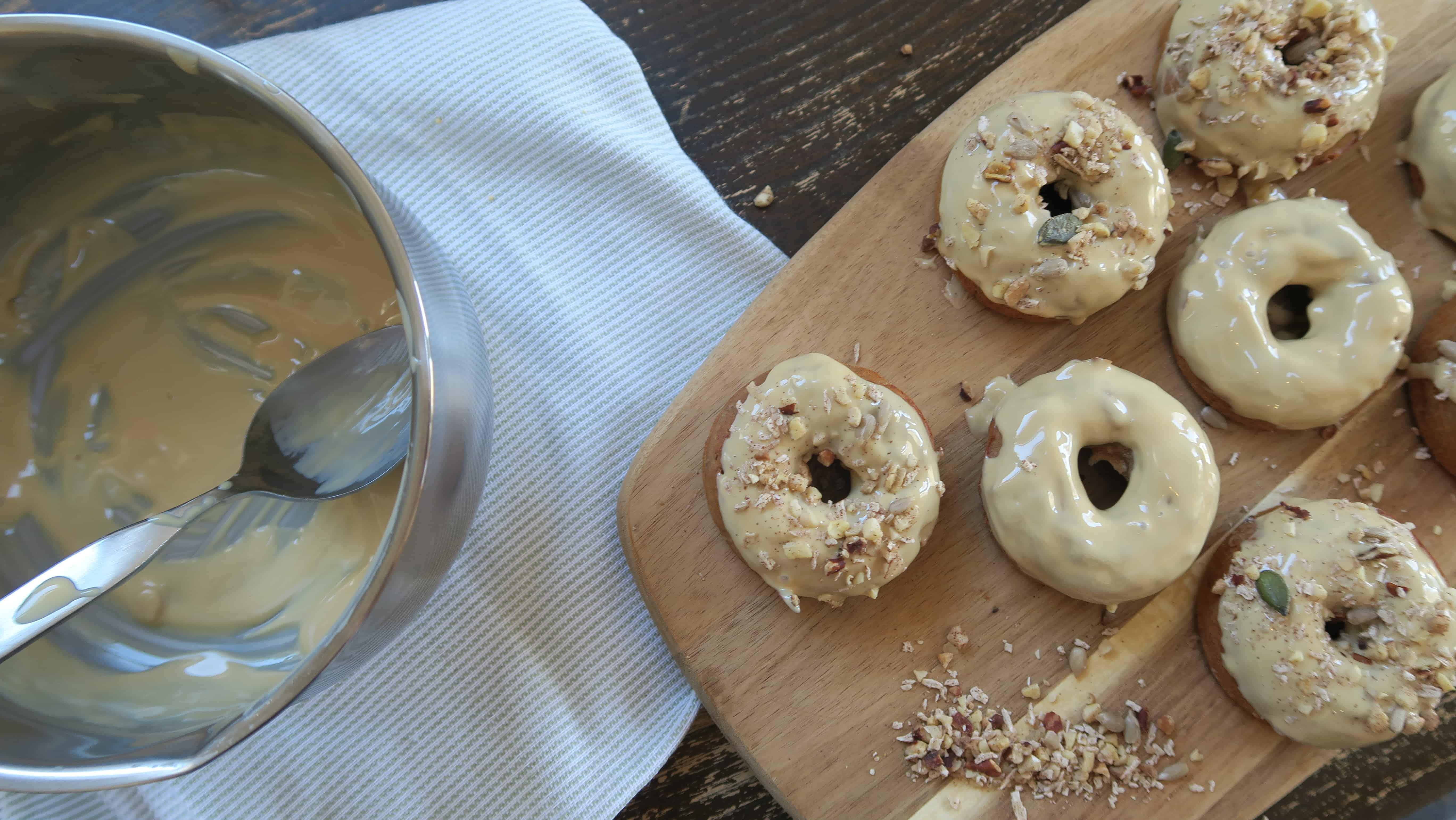 Gluten free dairy free egg free vegan banana bread doughnuts recipe with caramac topping