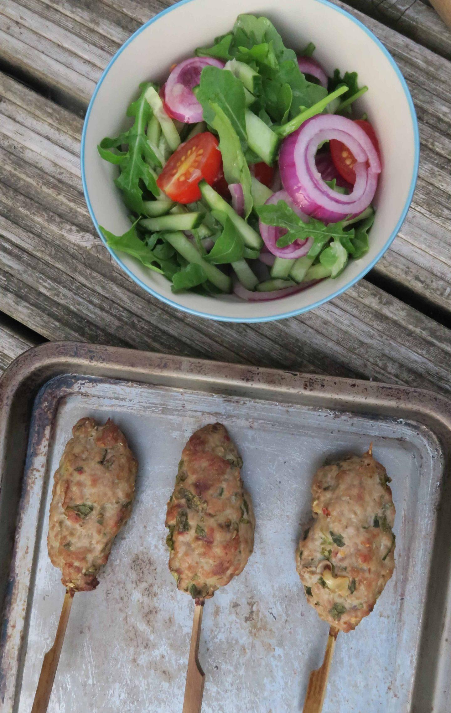 gluten free bbq recipe pork kofta garlic yoghurt rocket salad 28