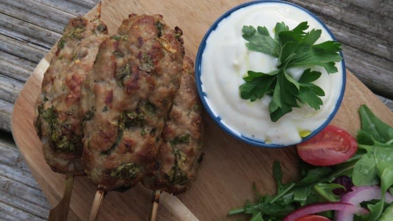 gluten free bbq recipe pork kofta garlic yoghurt rocket salad 22