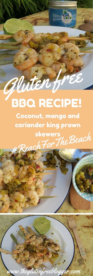 Gluten free BBQ recipe for King Prawn Skewers with Coriander, Mango and Coconut for #ReachForTheBeach - www.theglutenfreeblogger.com