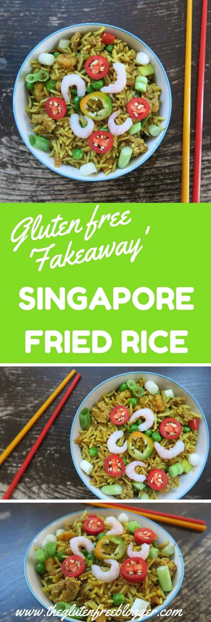 GLUTEN FREE CHINESE IDEAS - SINGAPORE FRIED RICE - FROM THE GLUTEN FREE BLOGGER - www.theglutenfreeblogger.com