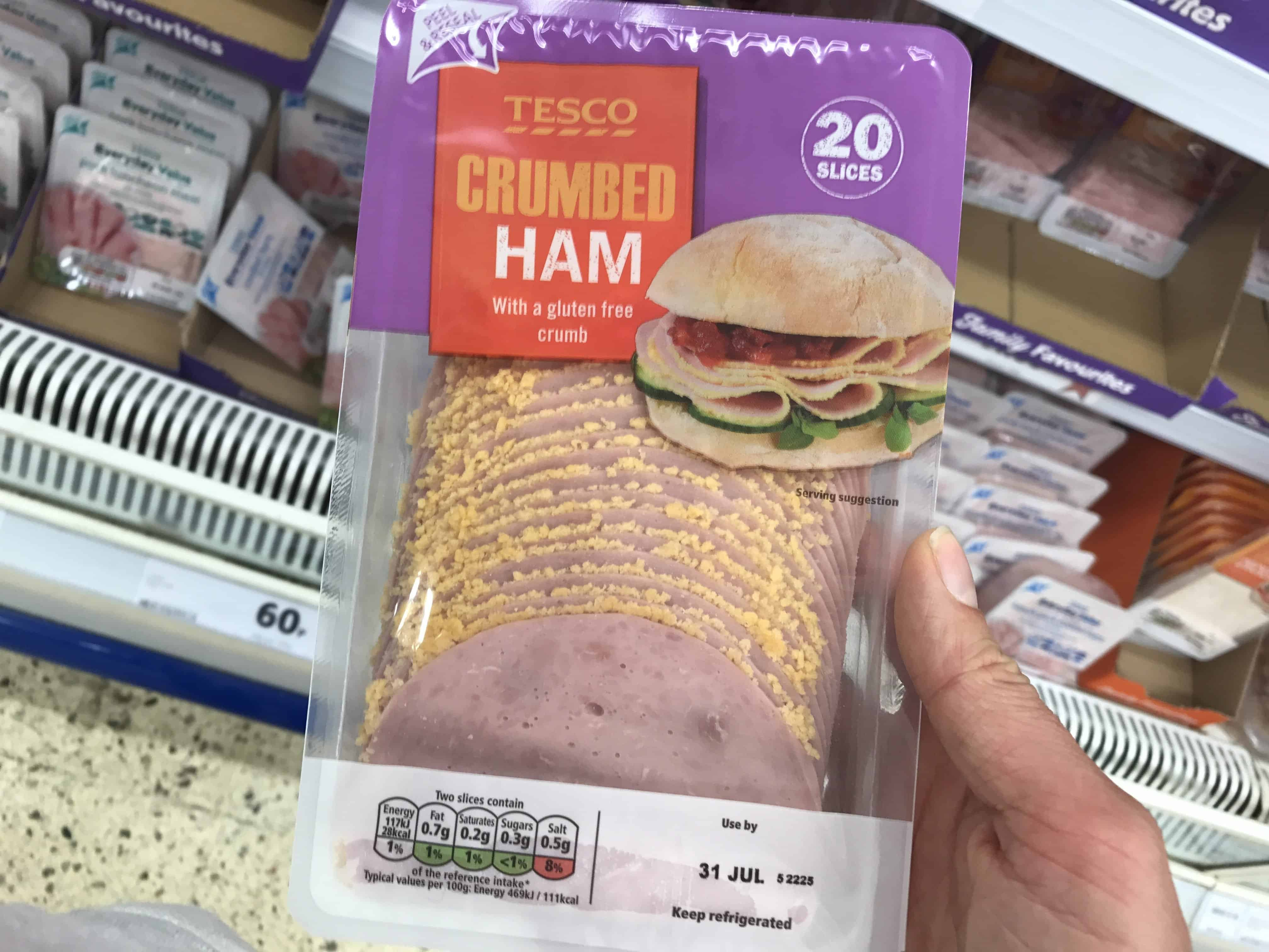 tesco gluten free crumb ham