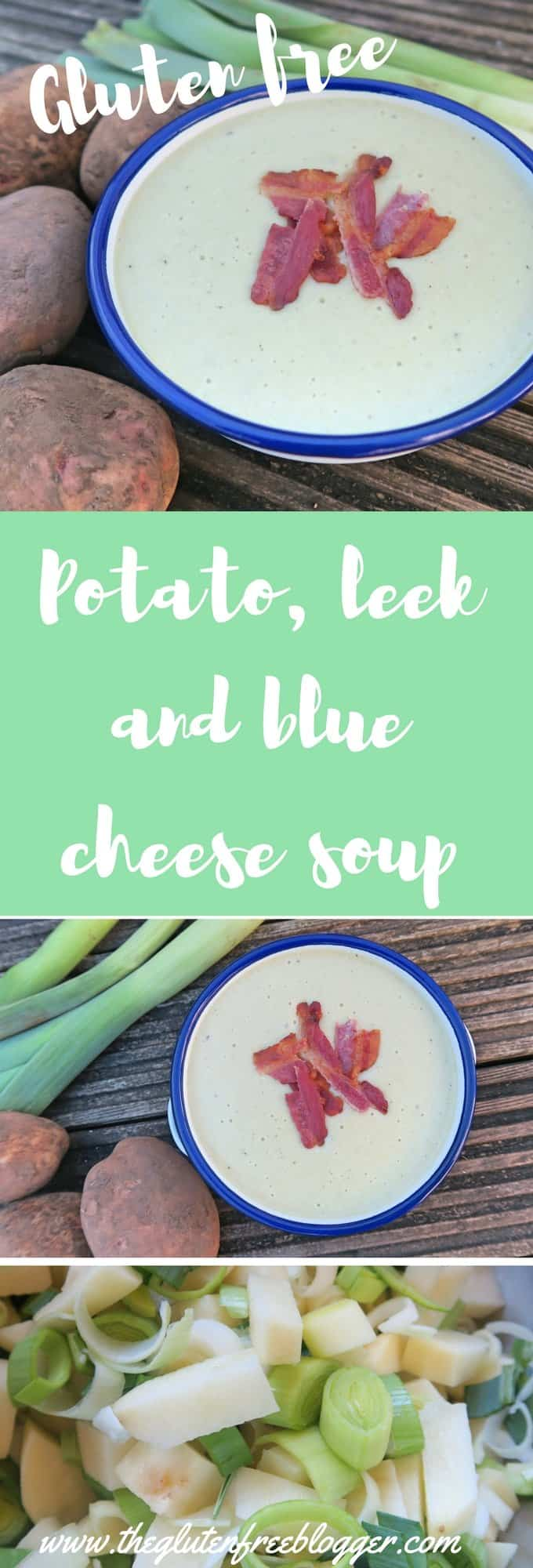 Gluten free soup - potato leek and blue cheese soup -www.theglutenfreeblogger.com