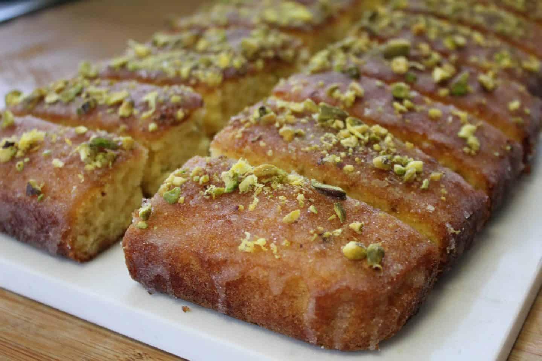 gluten free lemon and pistachio drizzle cake 26
