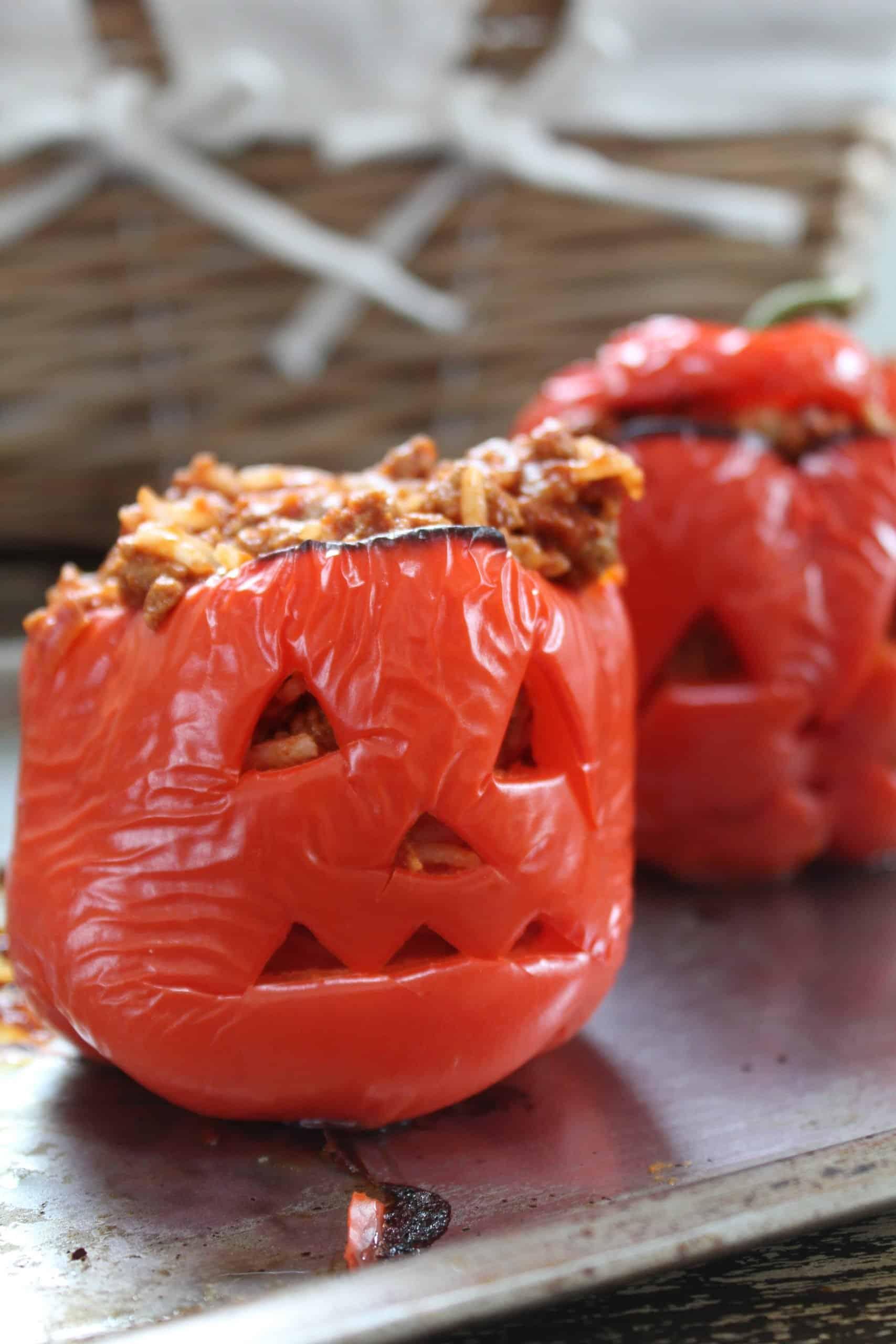gluten free jack o'lantern stuffed peppers