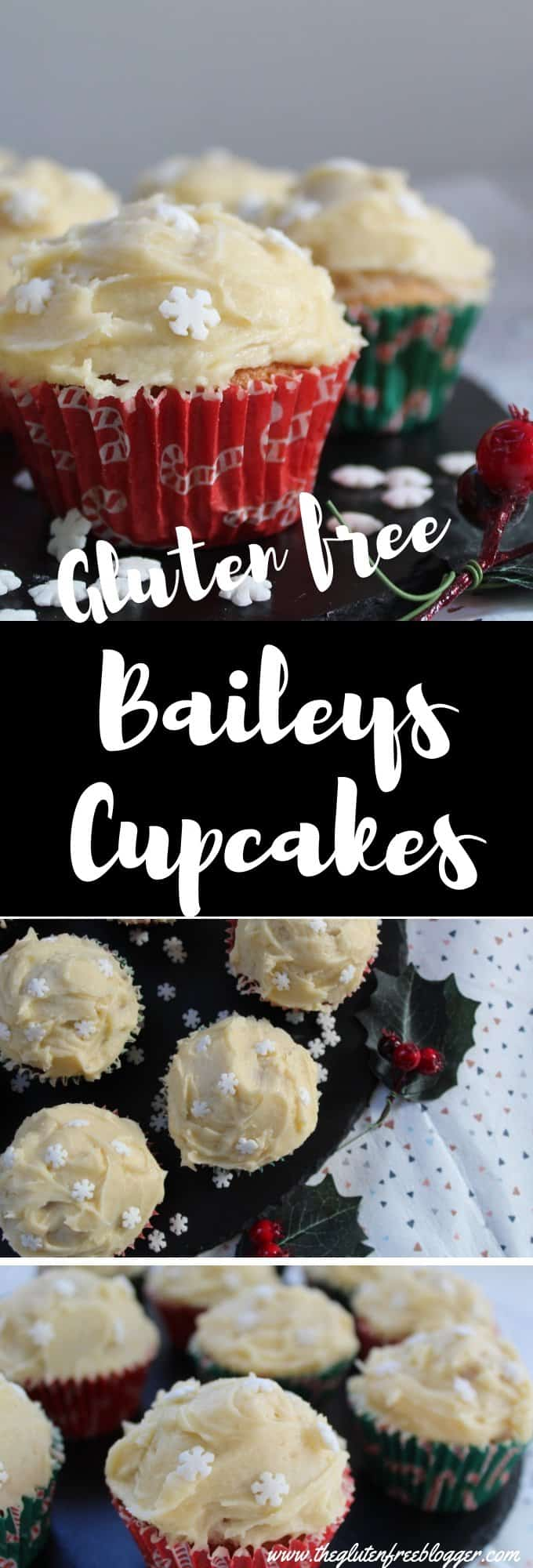 gluten free baileys cupcakes - irish cream cupcakes - baileys frosting - gluten free cake recipe- gluten free christmas