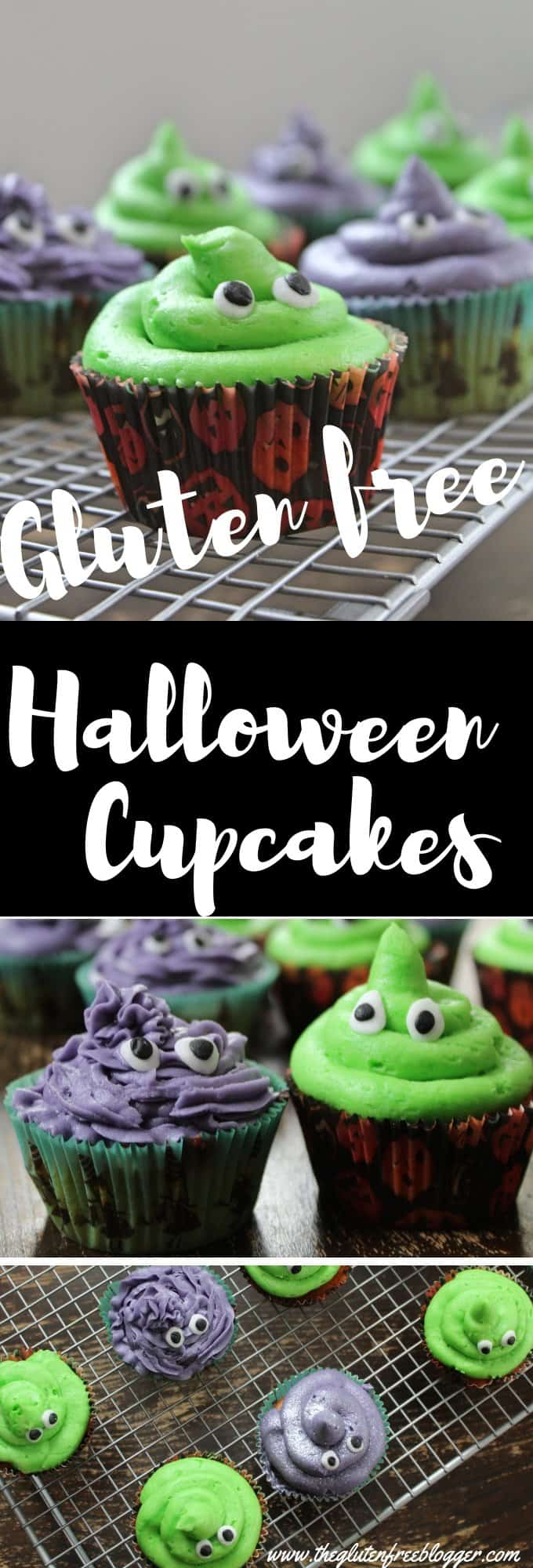 gluten free halloween cupcakes - monster cupcakes - dairy free - halloween party food - recipe