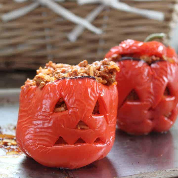 gluten free stuffed pepper jack o'lanterns