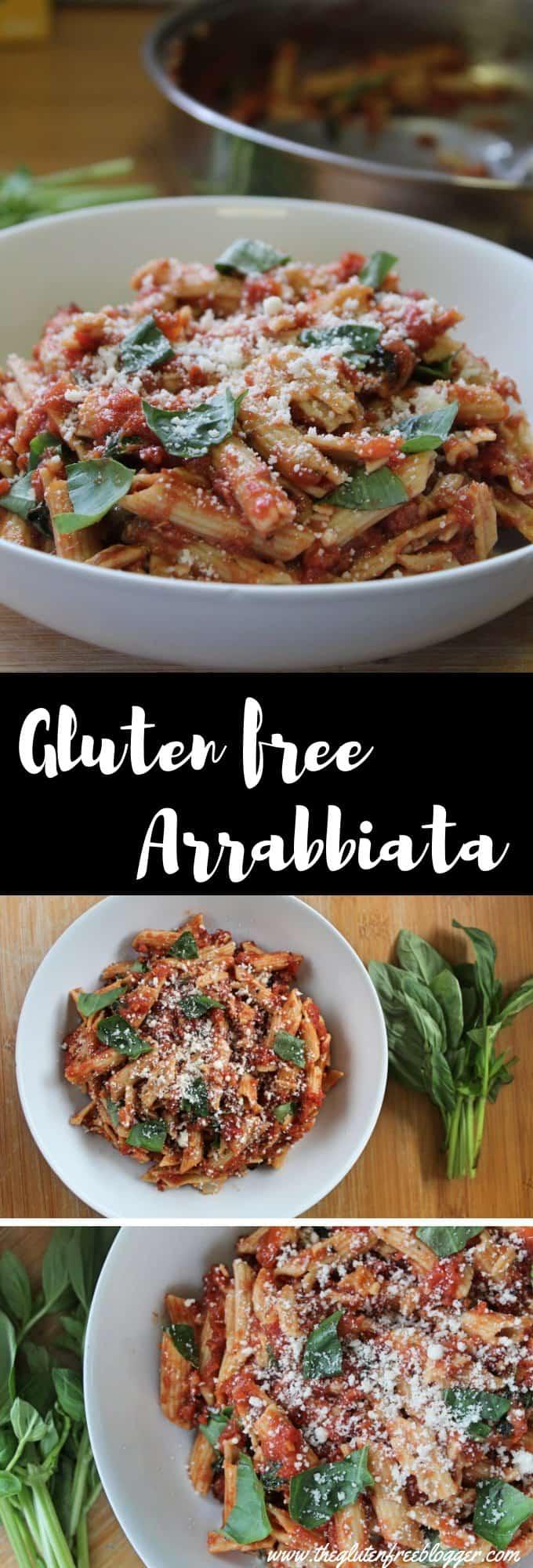 gluten free arrabbiata recipe - gluten free pasta - easy dinner ideas - midweek meal - coeliac