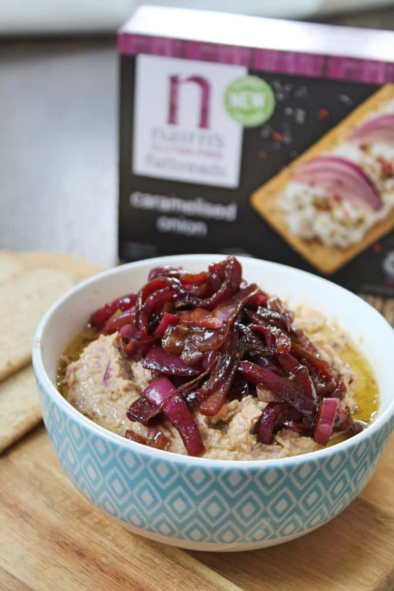 gluten free caramelised onion houmous recipe nairns flatbreads