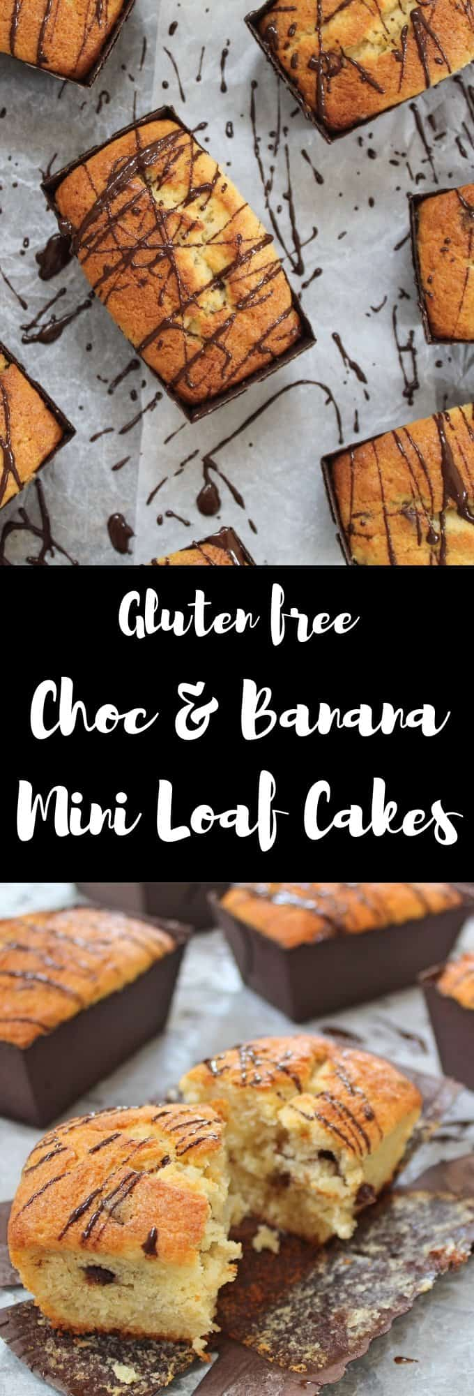 Gluten free banana and choc chip mini loaf cakes recipe coeliac baking easy bakes