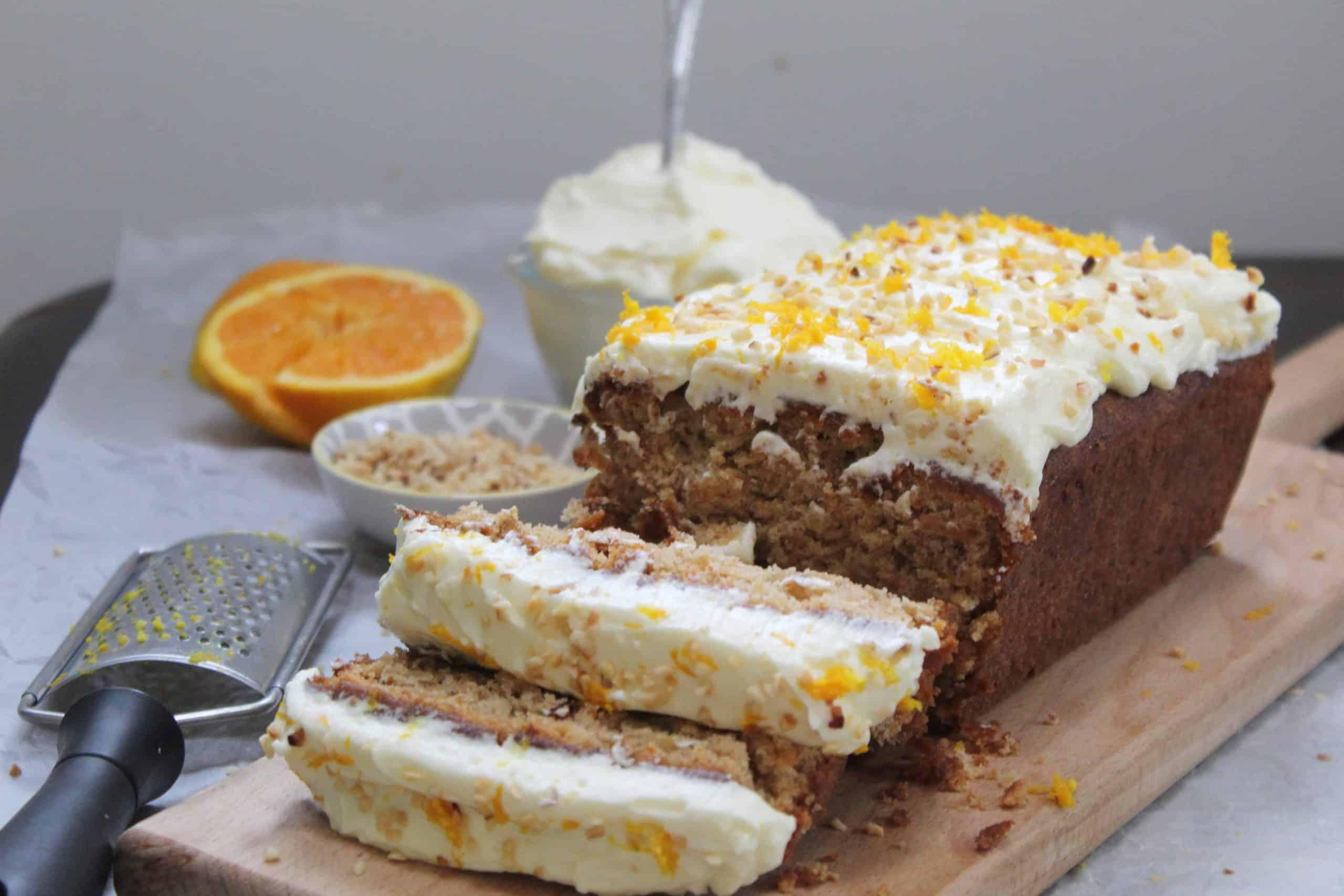 gluten free carrot cake recipe with hazelnut and orange
