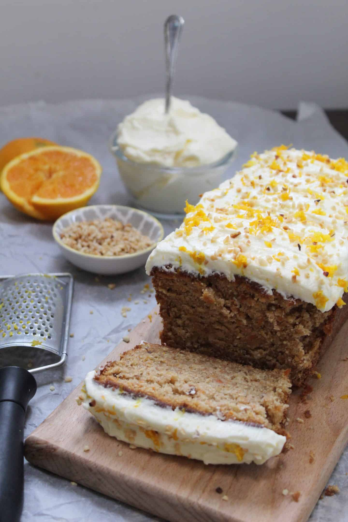 gluten free carrot cake recipe with hazelnut and orange