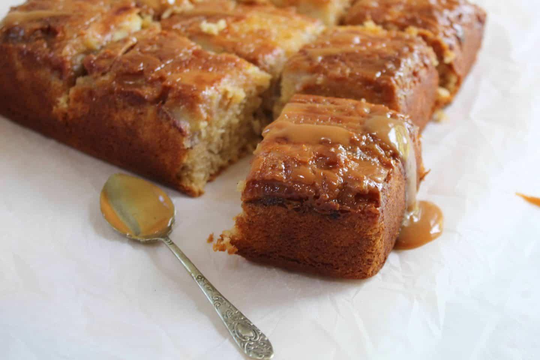 GLUTEN FREE BANANA CARAMEL UPSIDE DOWN CAKE