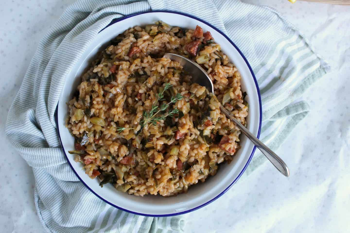 GLUTEN FREE CHORIZO LEEK AND SPRING GREENS RISOTTO RECIPE 10