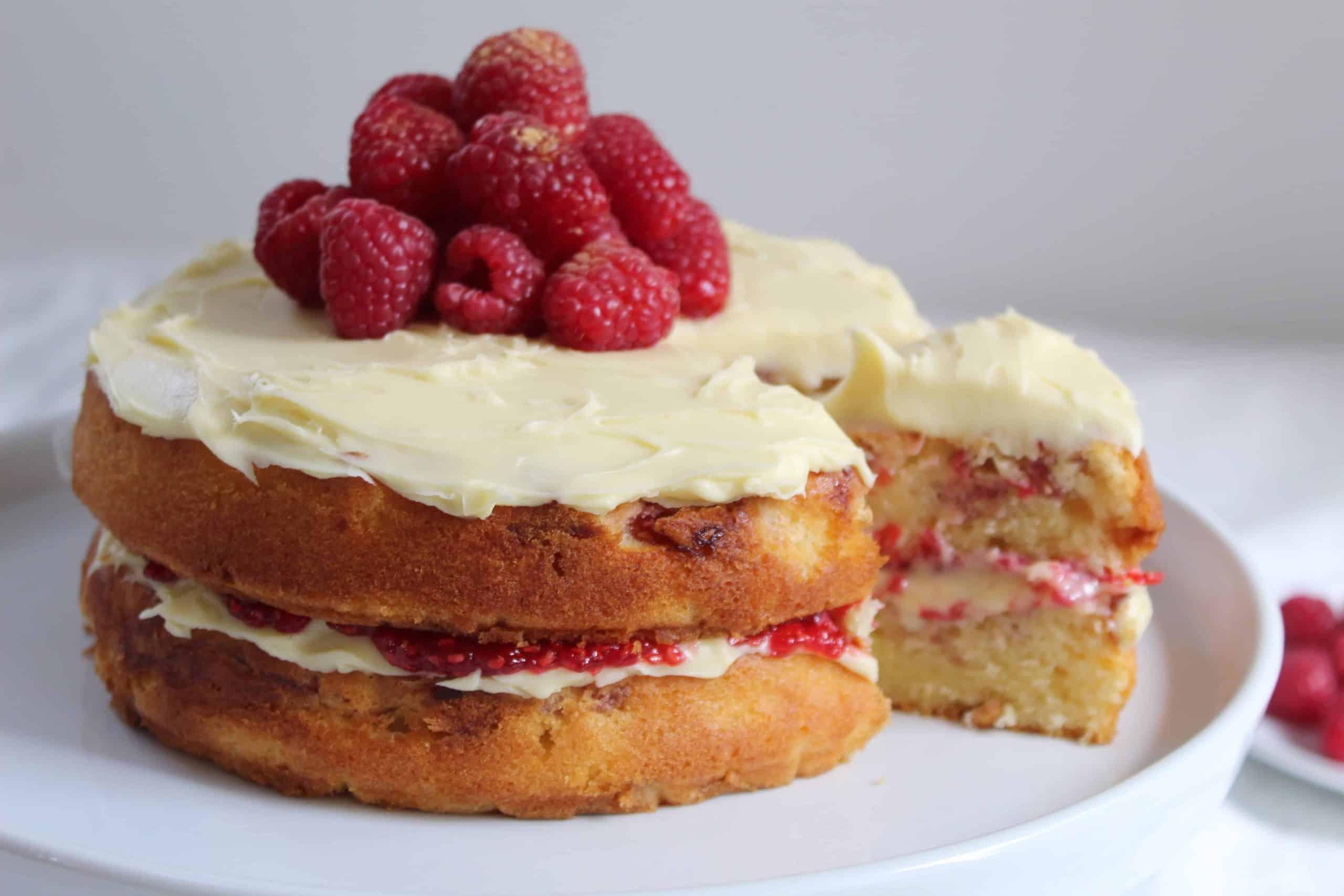 GLUTEN FREE WHITE CHOCOLATE AND RASPBERRY CAKE RECIPE