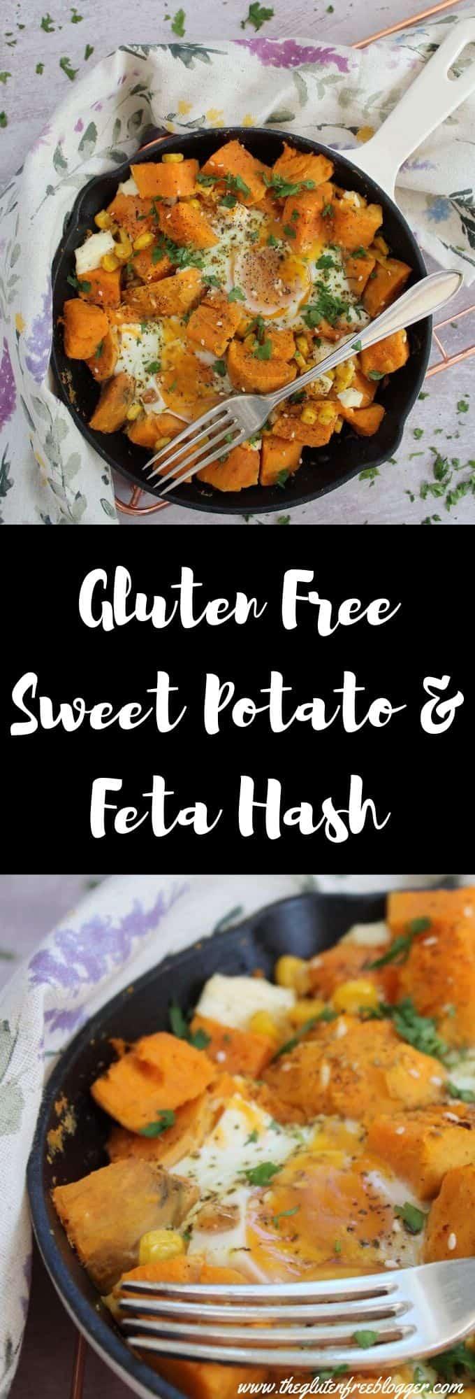 gluten free sweet potato and feta hash coeliac brunch dinner idea