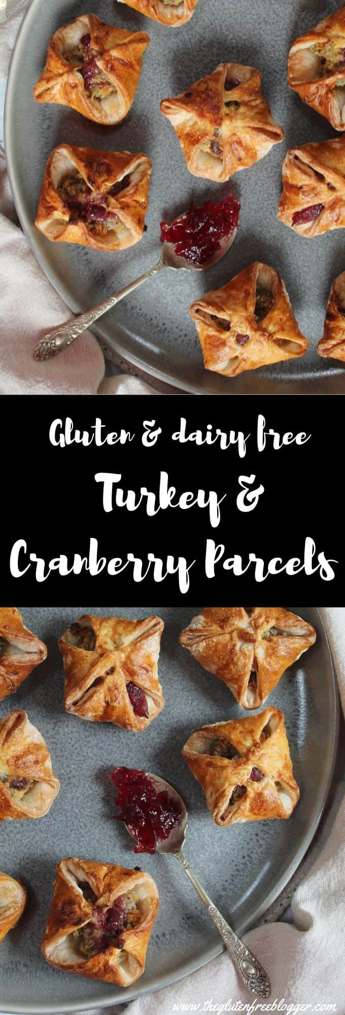 gluten free turkey and cranberry parcels - dairy free christmas party food ideas and recipes