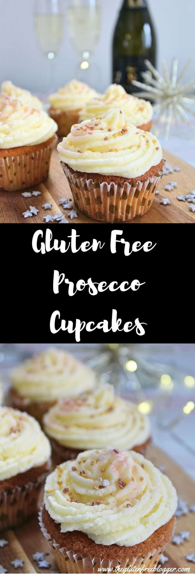 gluten free prosecco cupcakes recipe - christmas new year party bakes ideas cake coeliac friendly