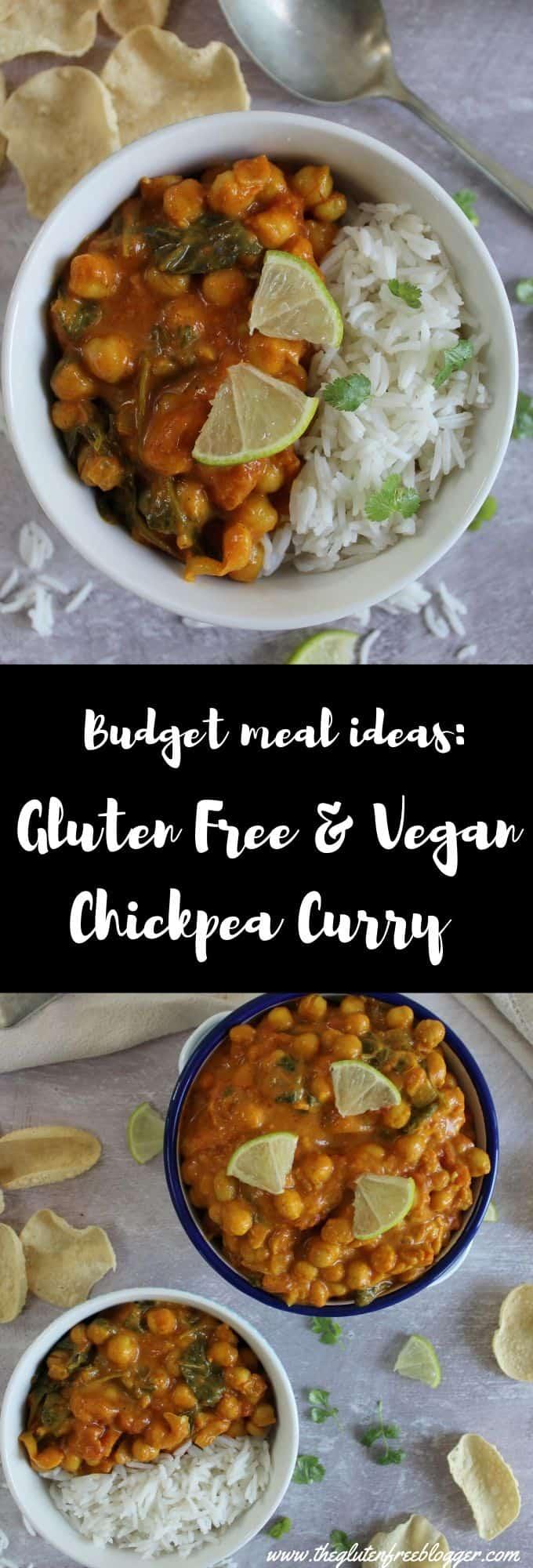 gluten free and vegan chickpea curry recipe easy budget meal ideas coeliac celiac veganuary cheap dinner