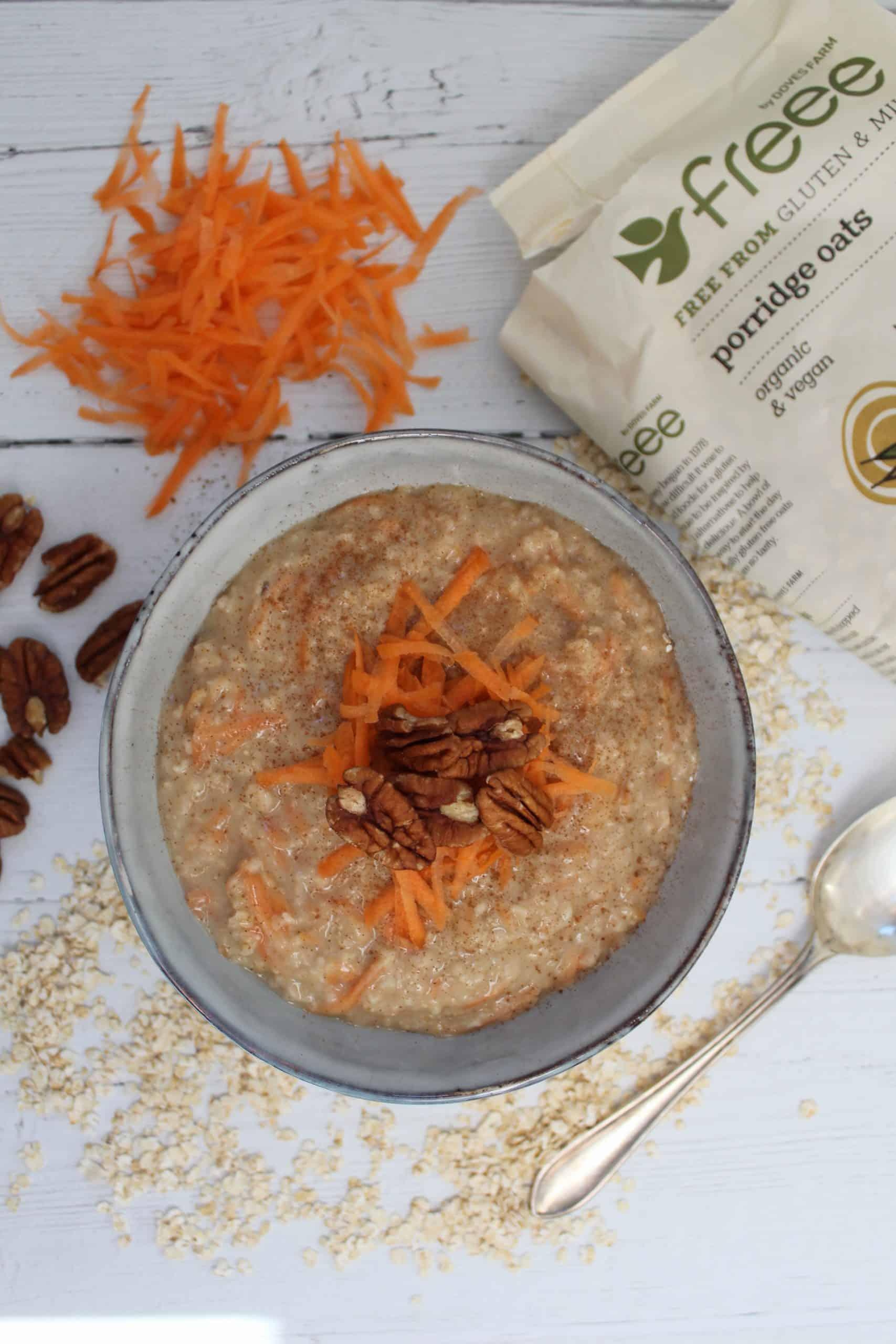 gluten free breakfast ideas CARROT CAKE PORRIDGE vegan