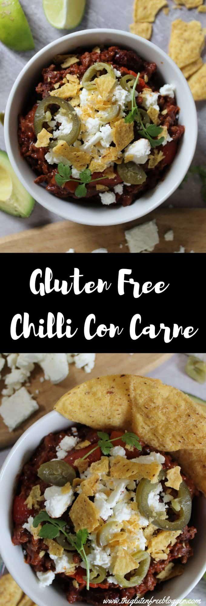 gluten free chilli con carne recipe coeliac celiac dairy free beef chilli nachos dinner ideas batch cooking