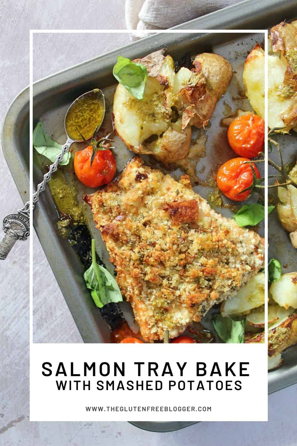 gluten free herb crusted salmon tray bake with smashed potatoes and pesto drizzle healthy one pan dinner recipe