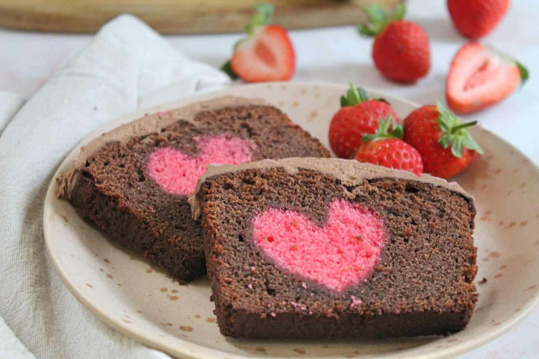 gluten free hidden heart cake chocolate vanilla 40