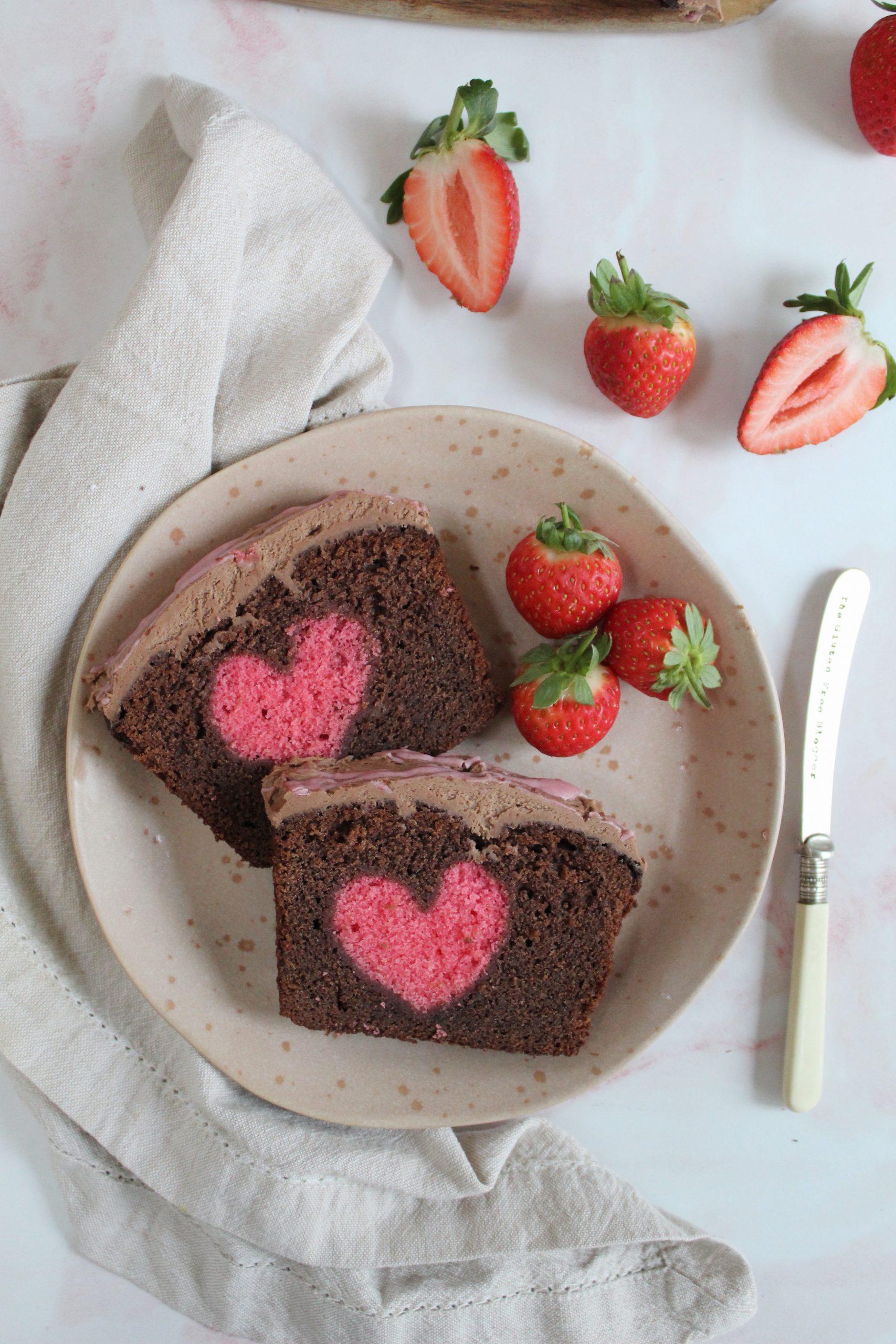 gluten free hidden heart cake chocolate vanilla 47