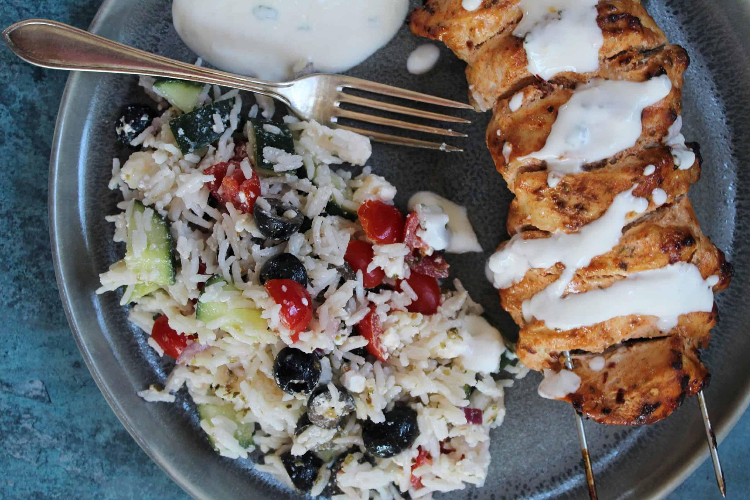 chicken kebabs with greek rice salad recipe gluten free