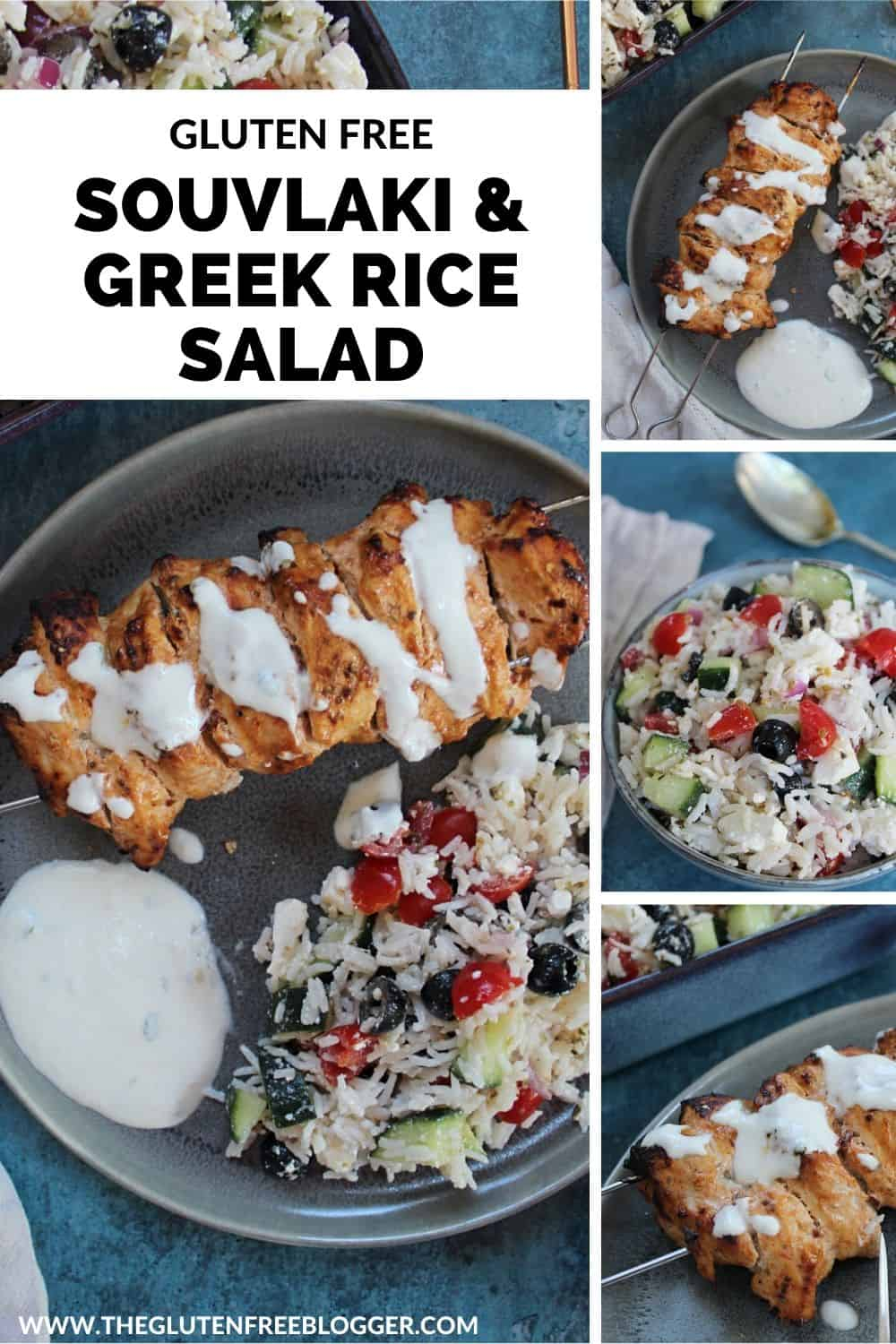 gluten free chicken kebabs with greek rice salad and garlic yoghurt dip (souvlaki)