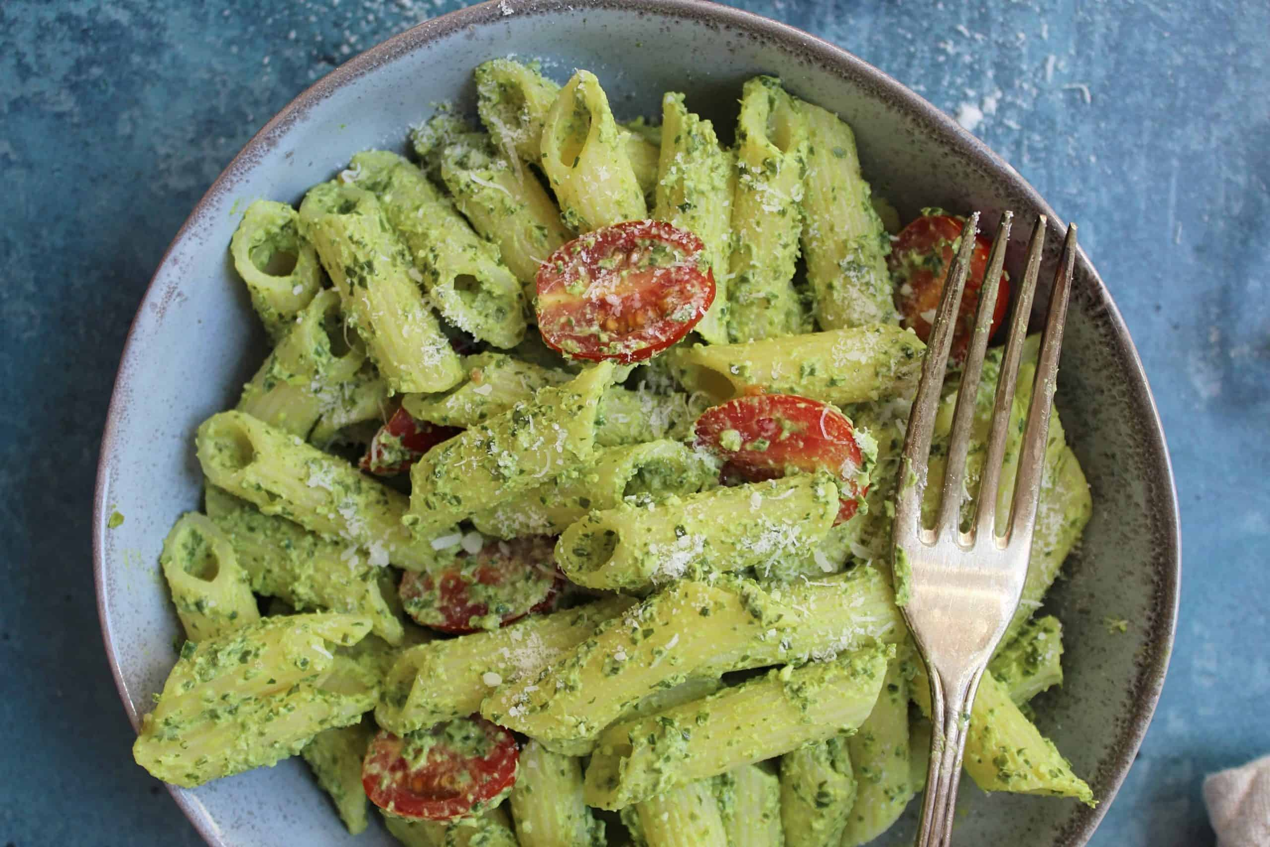 gluten free pasta recipe with no-cook spinach sauce 94