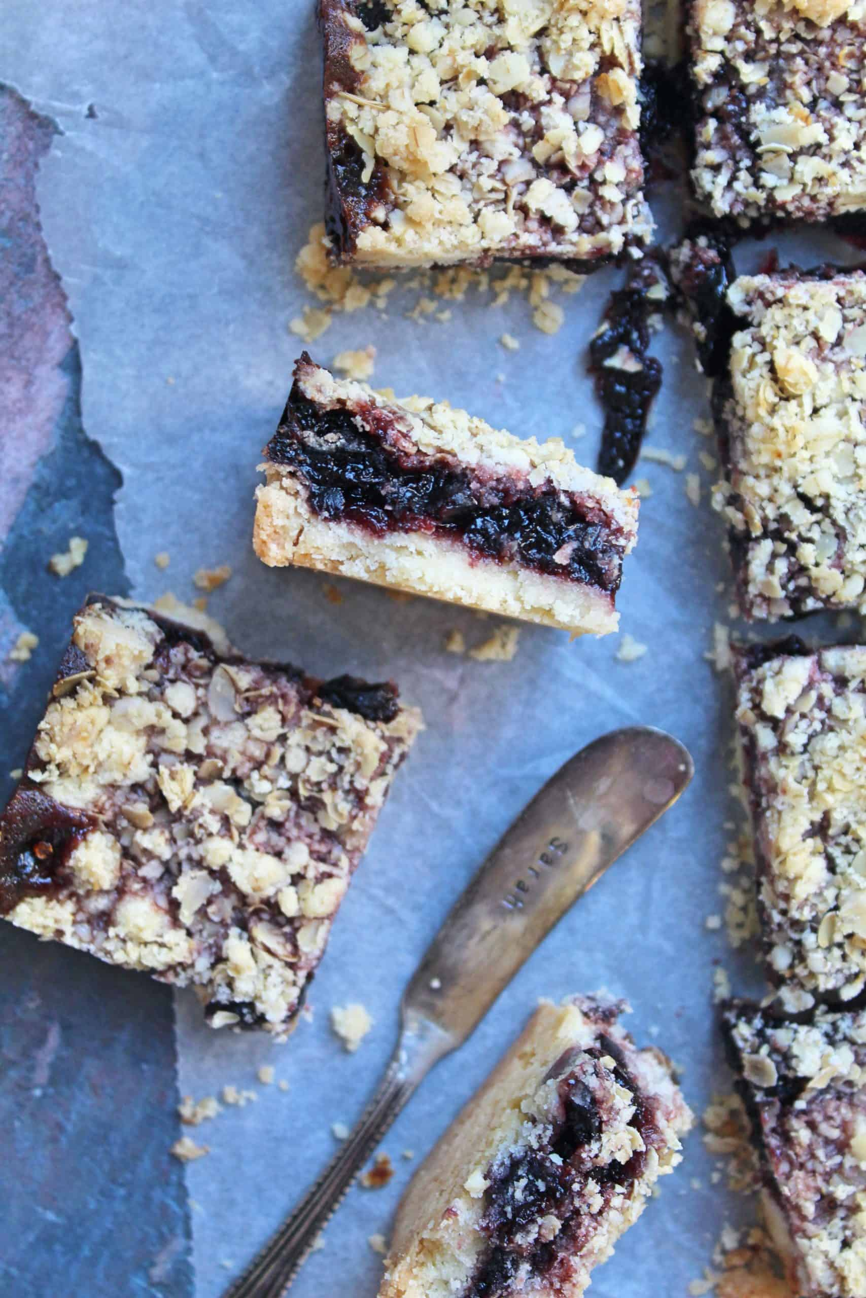 gluten free cherry and ginger oaty crumble bars 57