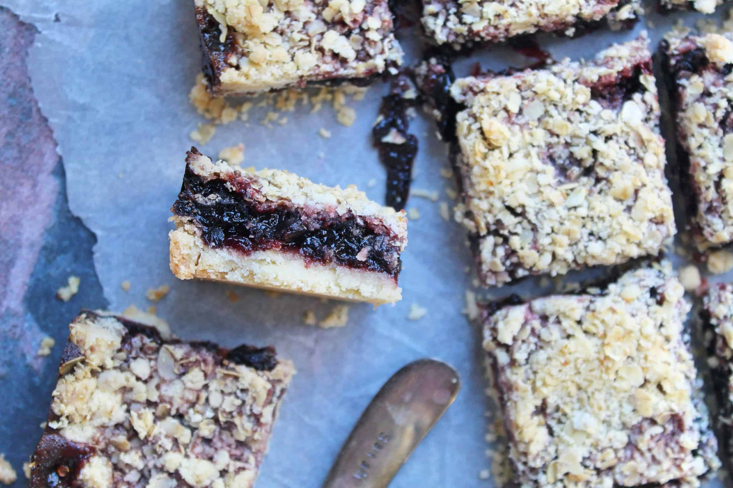 gluten free cherry and ginger oaty crumble bars