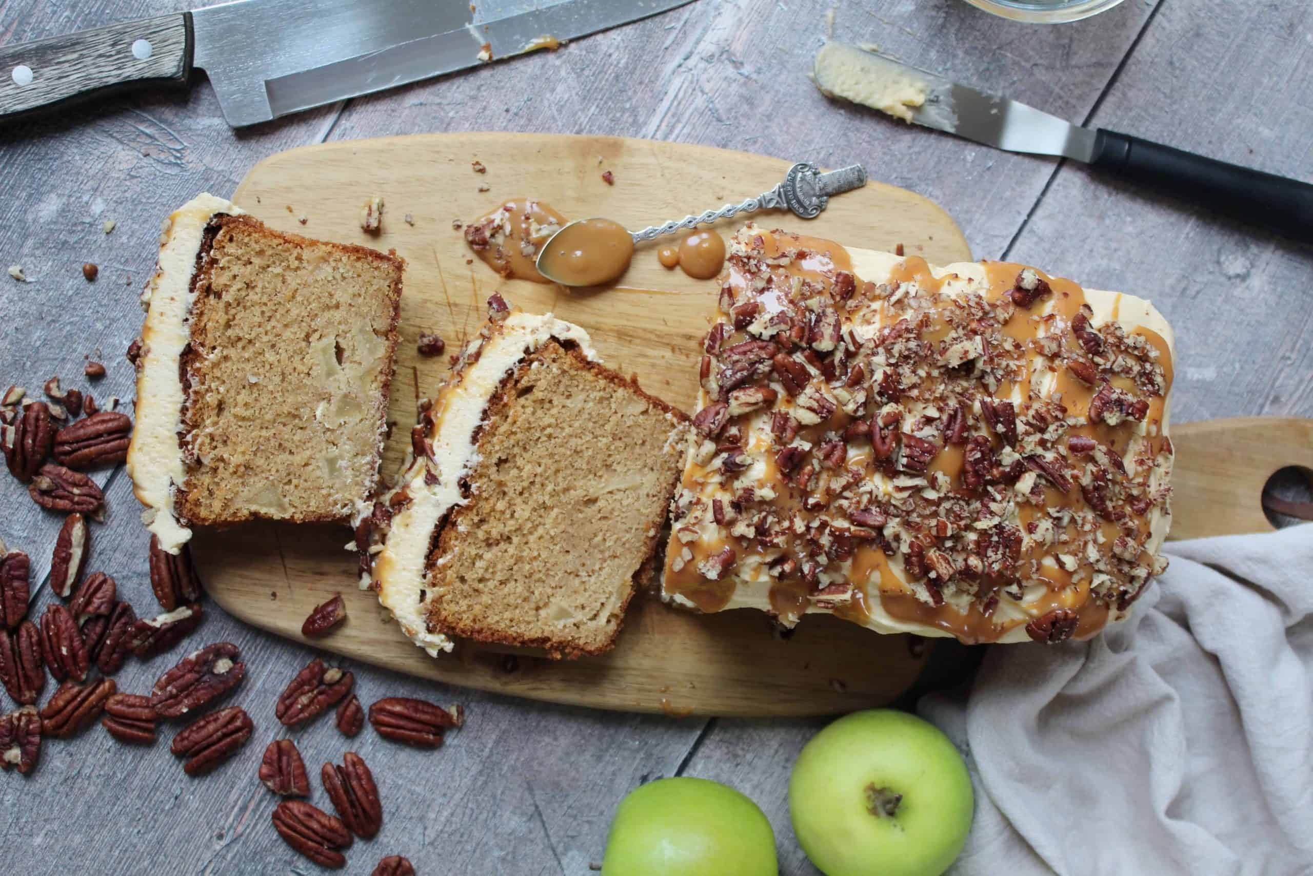 gluten free apple and salted caramel cake