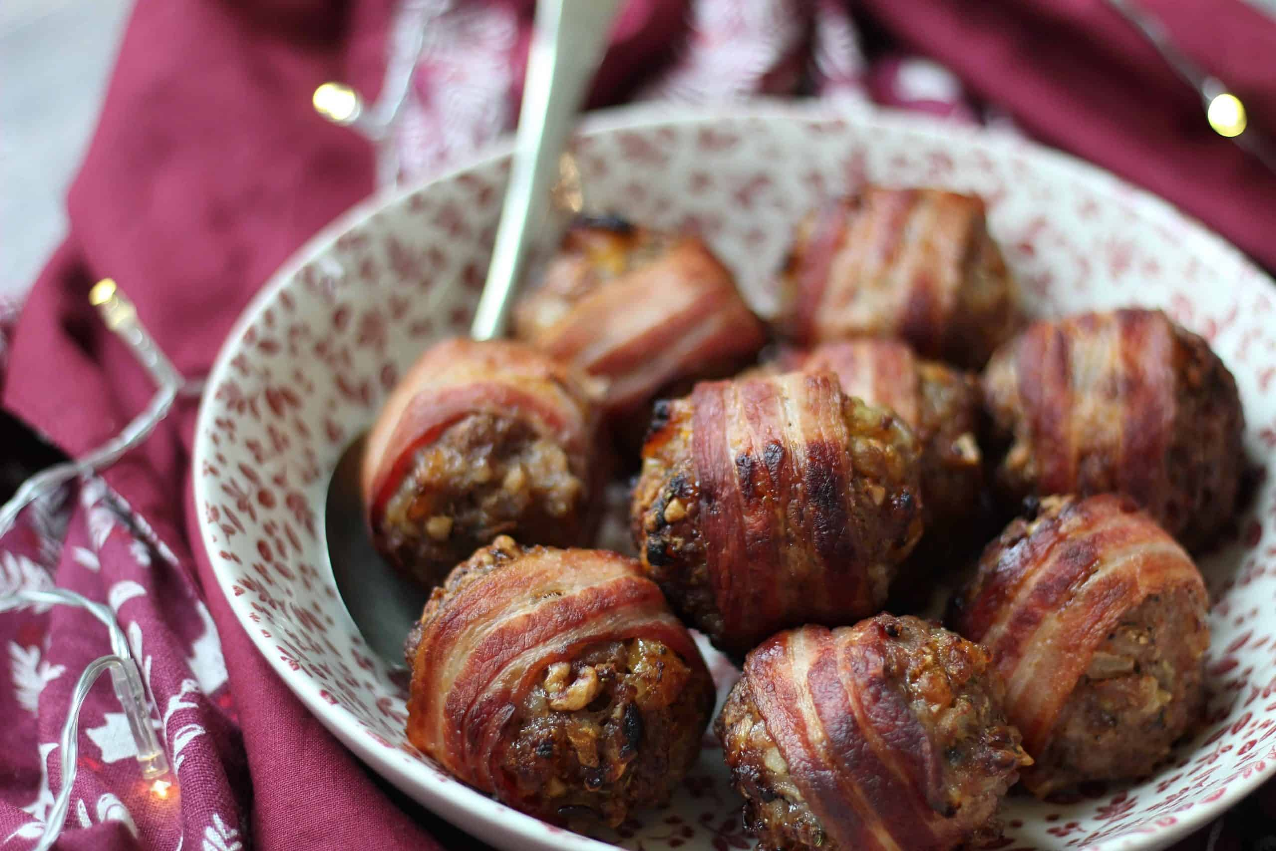 GLUTEN FREE STUFFING BALLS WRAPPED IN BACON